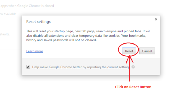 step 4 click on reset button to restore or reset google chrome settings