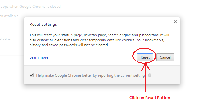 Reset Google Chrome Browser to its defaults settings quickly