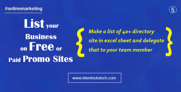 list your business on promotional websites or directory websites