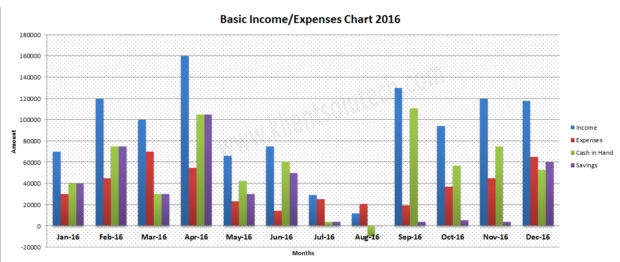 data visualization sample - income and expense chart report